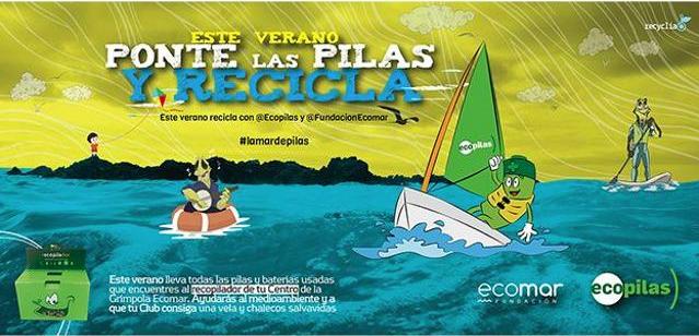 Cartel del Concurso Este Verano Ponte las Pilas y Recicla de Ecopilas y Ecomar